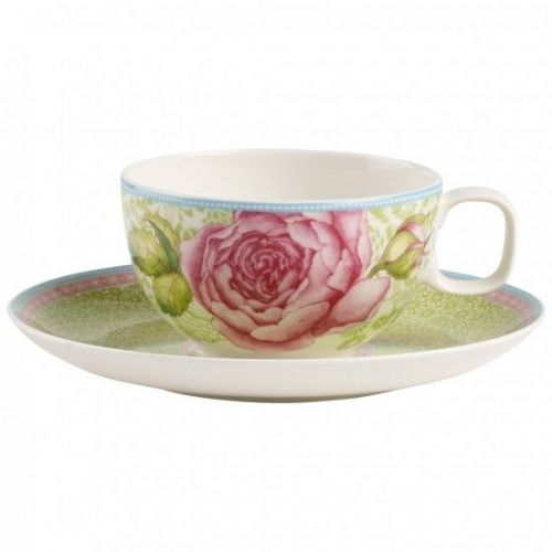 Rose Cottage Tea cup & saucer 2pcs - Green